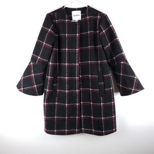 BB Dakota Plaid Wool Bell Sleeve Coat Size Medium